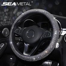 Cubiertas de volante de coche con diamantes de imitación, bandolera de cuero, tapa de palanca de cambios automática, accesorios de Interior de coche para mujeres y niñas