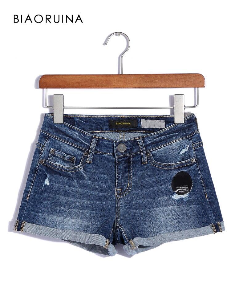 BIAORUINA Women Casual Scratched Denim Shorts Female High Waist Bleached Washing Shorts Women's Fashion Shorts Plus Size