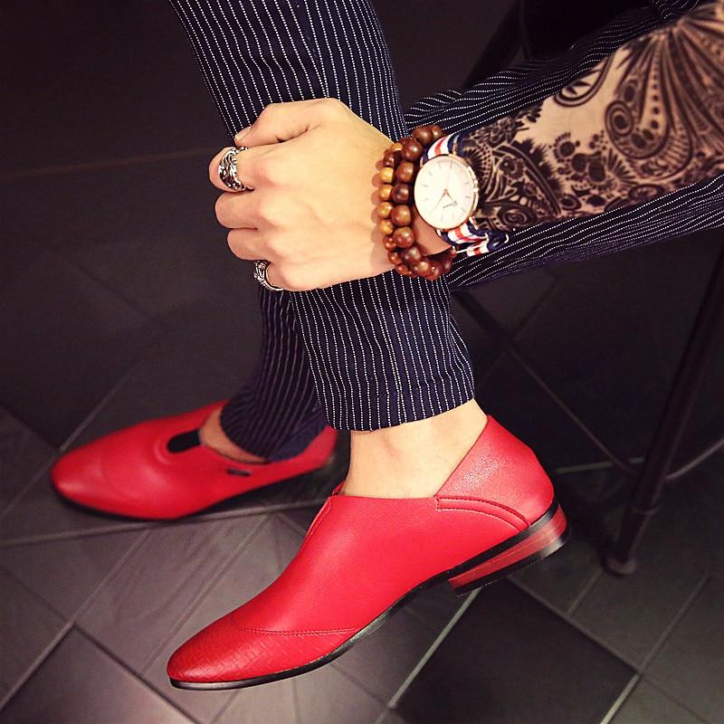 Robe blanc Mâle 2018 Noir Hommes Formelle Pointu De Marque Oxford Chaussures Ballerines Rouge Mode Printemps rouge Luxe Pour Mocassin pU0Urxq6w