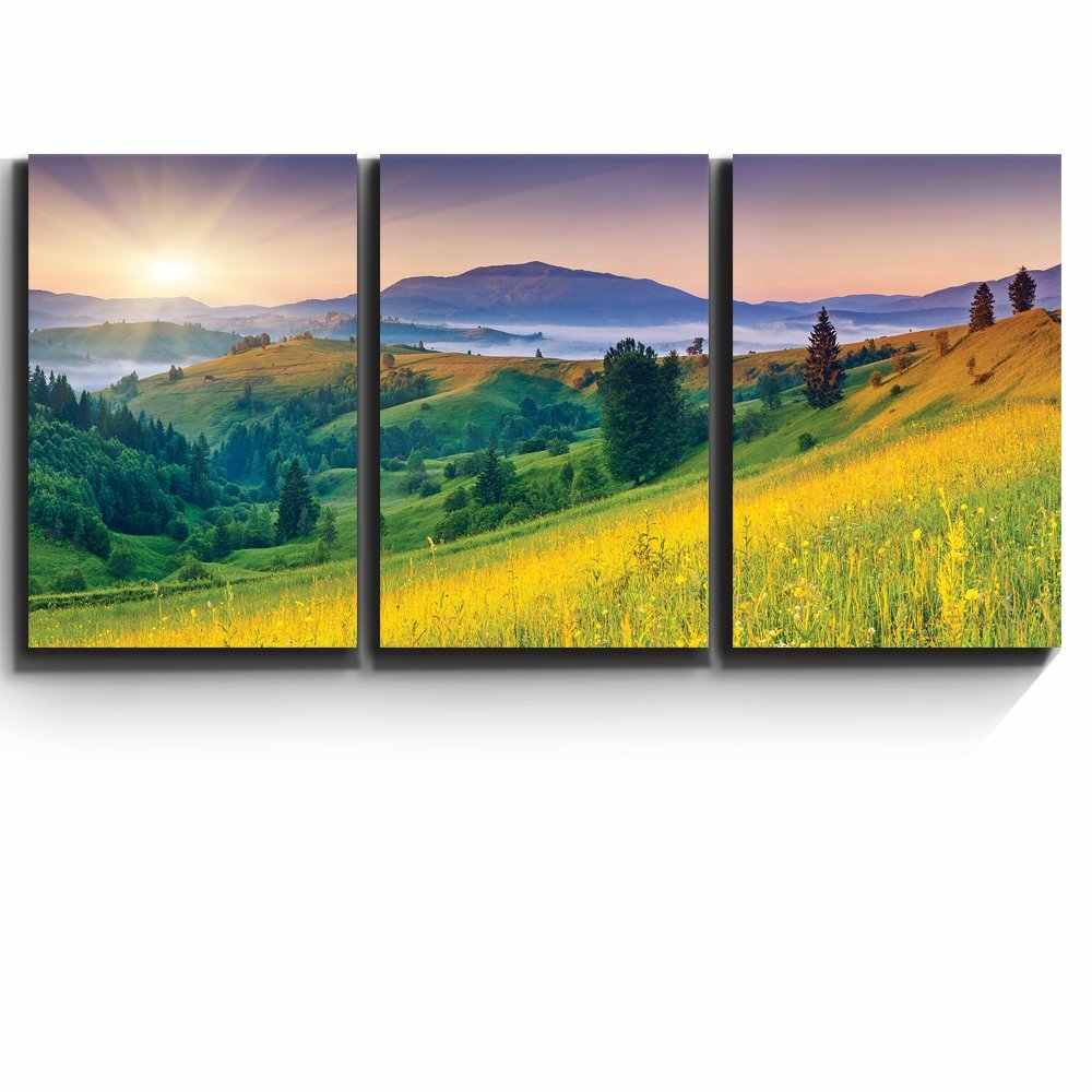 3 Piece Sunset Grassland Canvas Painting Landscape Posters and Prints Modern  for Living Room Home Decor Wall Art