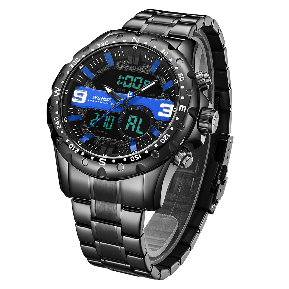 WEIDE Top Luxury Brand Quartz LCD Digital Chronograph Clock Sports Military Complete Calendar Stainless Steel Strap WristWatch