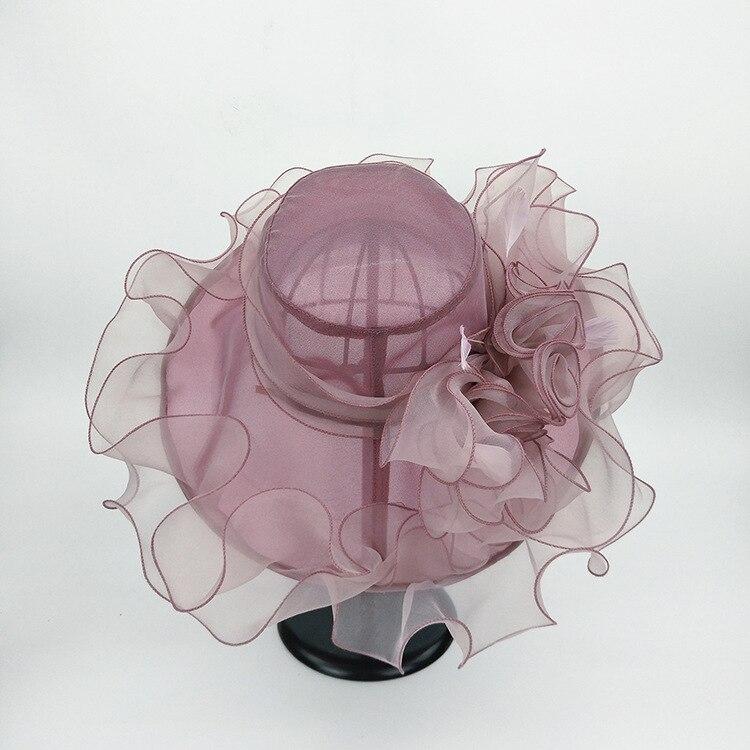 Image 4 - Женская шляпа из органзы с большим цветком и перьями, свадебная Кепка для леди Кентукки, Кепка в стиле Дерби, женская летняя широкая шляпа от солнца-in Женские шляпы солнца from Аксессуары для одежды on AliExpress - 11.11_Double 11_Singles' Day