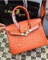 Women's Leather Bag Padlock Ostrich Pattern Brand Desinger Woman Cowhide Bags Genuine Leather Handbags Shoulder Messenger Bag