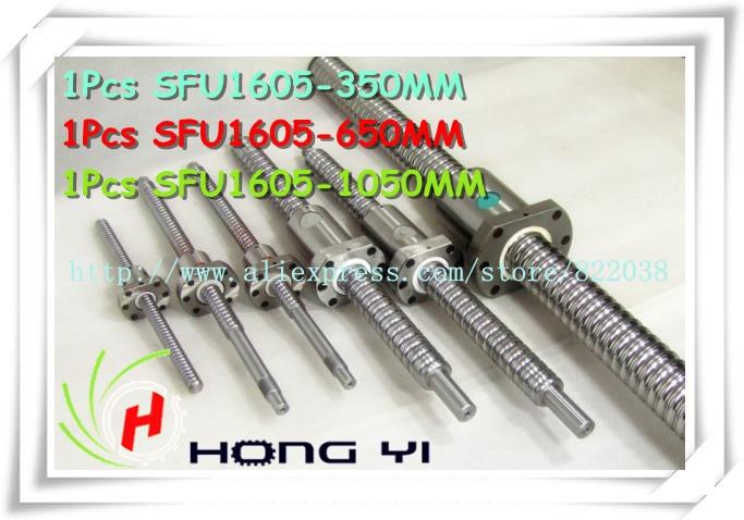 SFU1605 Ballscrew L= 350mm/650mm/1050mm + 3pcs Ball screw ball nut for CNC and BK/BF12 standard processingSFU1605 Ballscrew L= 350mm/650mm/1050mm + 3pcs Ball screw ball nut for CNC and BK/BF12 standard processing