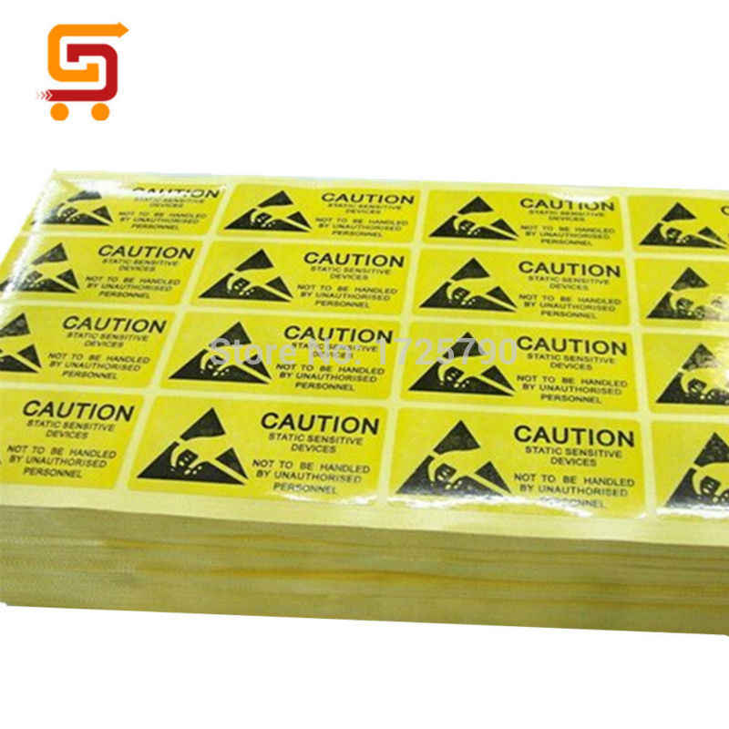 Free shipping 100pcs/lot CAUTION Sticker ESD Warning Labels 55x25mm  Waterproof PVC Material Adhesive Labels