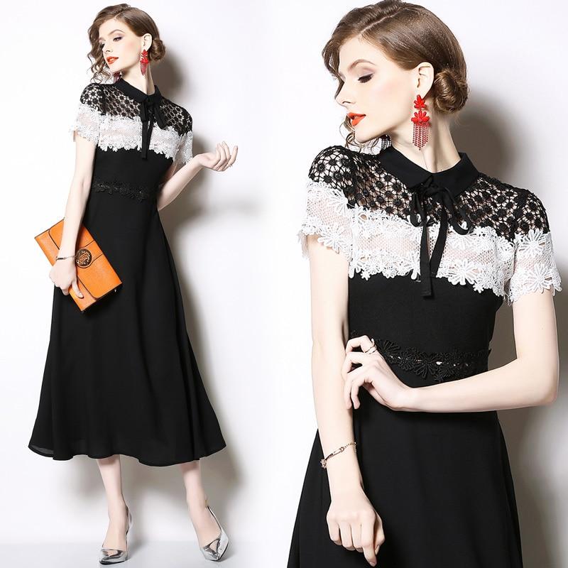 Femmes été élégant Patchwork robe de haute qualité à manches courtes col rabattu robe noire dames bureau partie longue dentelle robe
