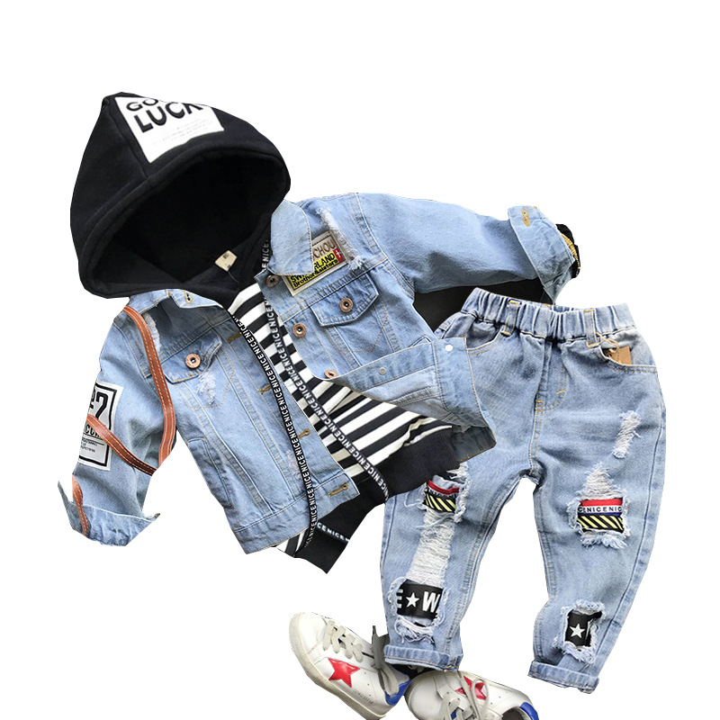 3PCS Child Boys Fits Ladies Garments Units For Youngsters Coat+Hooded T-shirt+ Denims Pant 3pcs Youngsters Sport Go well with Youngsters Clothes Units Clothes Units, Low-cost Clothes Units, 3PCS Child...