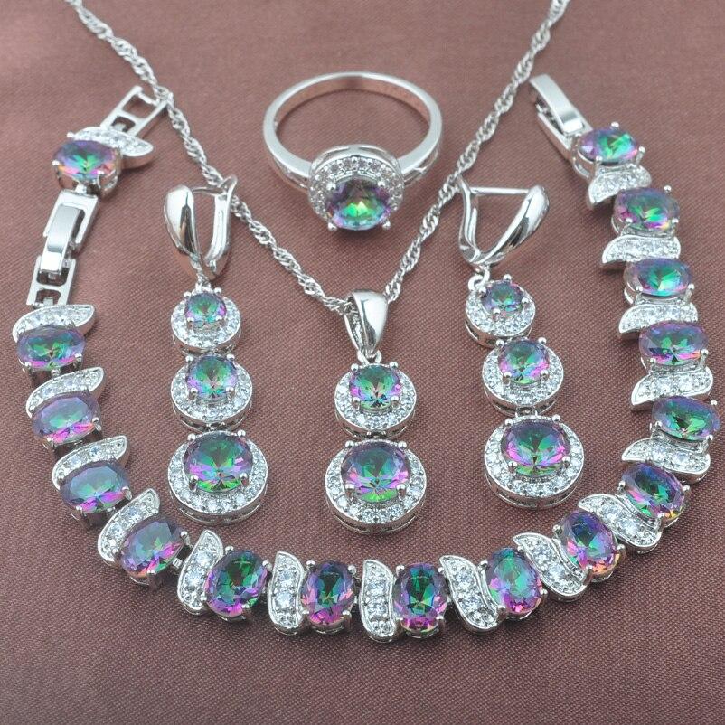 2017 New Multicolor Rainbow Zirconia 925 Sterling Silver Women's Jewelry Set Bracelet Necklace Pendant Earrings Ring YZ0495