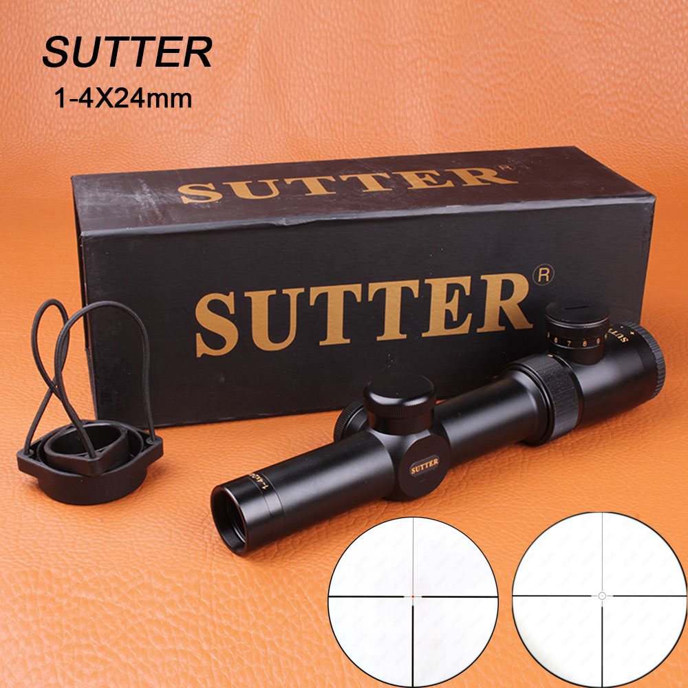 SUTTER 1-4X24 Tactical Riflescope Optical Sights Red Illuminate Glass Etched Reticle for Hunting Target Rifle Airsoft 1 4x24 r12 r29 glass reticle tactical riflescope red illuminate optical sight for hunting rifle scope