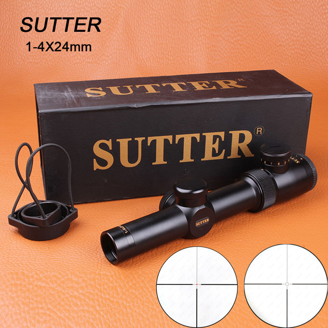 SUTTER 1-4X24 Tactical Riflescope Optical Sights Red Illuminate Glass Etched Reticle for Hunting Target Rifle Airsoft