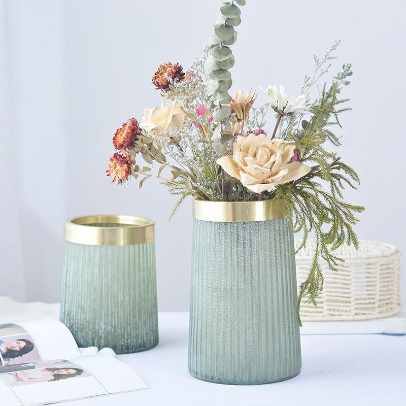 Creative Matte Old Glass Bottle Flower Vase Ornament Copper Ring