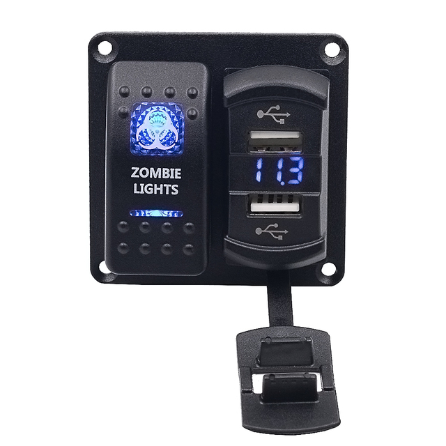 Car motorcycle boat switch travel panel car mobile phone charger on-board voltmeter