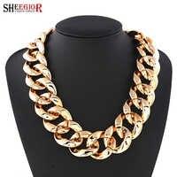 SHEEGIOR Boho grand collier clavicule femmes belle noir argent or plastique Bijoux Femme Long tour de cou colliers OL mode Bijoux