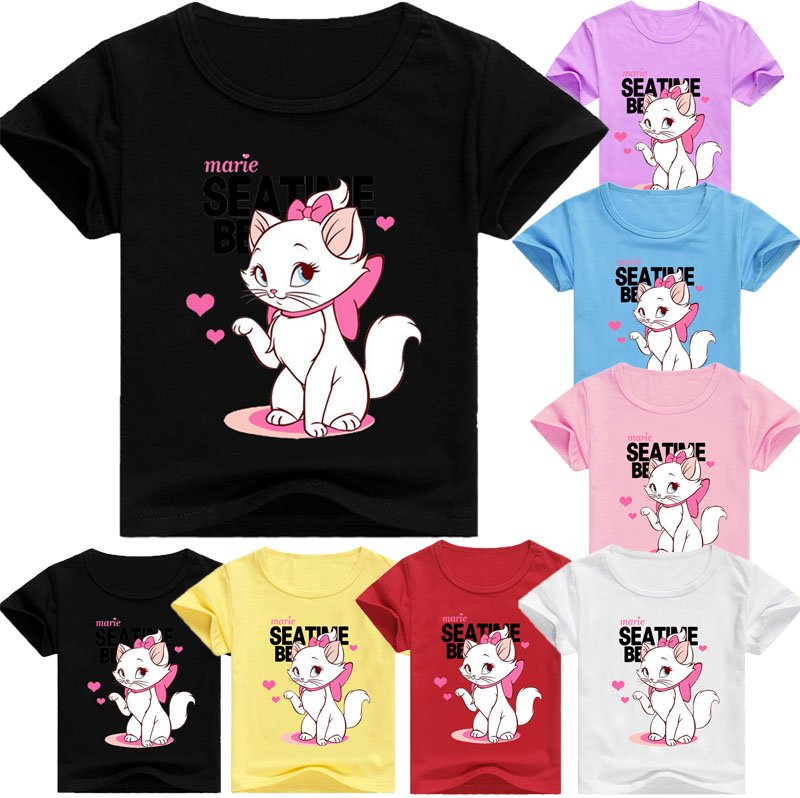 c7ad26497bec6 Marie Cat Kids Clothes T-shirt Tops Children's Clothing Girl Boys Top  Aristocats Cat Short Tees Infant Casual Shirts Costume