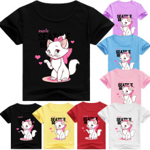 Marie Cat Kids Clothes T shirt Tops Children's Clothing Girl Boys Top Aristocats Cat Short Tees Infant Casual Shirts Costume-in T-Shirts from Mother & Kids on AliExpress