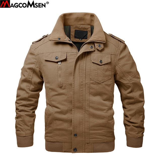 MAGCOMSEN Jacekt Men Autumn Casual Cargo Jackets Military Army Tactical Jacket for Men Casual Cotton Bomber Jacket Coat SSFC-36