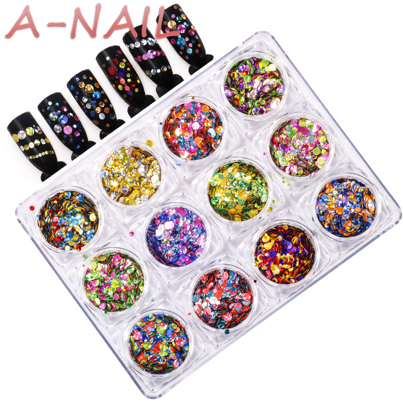 Semi-transparent Mermaid Nail Glitter Sequins Colorful Round Paillette Manicure Nail Flakies Decoration  ROUND Shapes Confetti 24 bottles 3d colorful shiny nail glitter powder sequins manicure festival nail art decorations for women