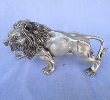 christmas decorations for home+ 6 inch Tibetan silver carved lion statue/Chinese art  lion  Sculpture