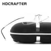 HDCRAFTER Brand Designer Women Unisex Titanium Rimless Glasses Frames Myopia Optical Frame Mens Titanium Frameless Eyeglasses