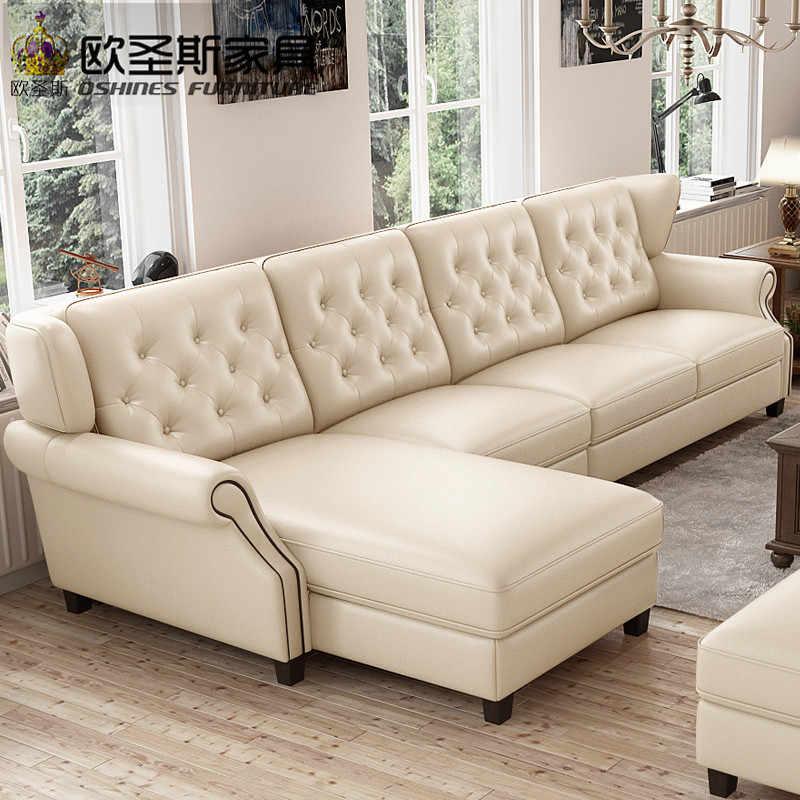 Fantastic 2019 Light Coffee American Style New Designs 2019 Sectional Livingroom Furniture L Shaped Corner Victorian Leather Sofa Set F80L Inzonedesignstudio Interior Chair Design Inzonedesignstudiocom