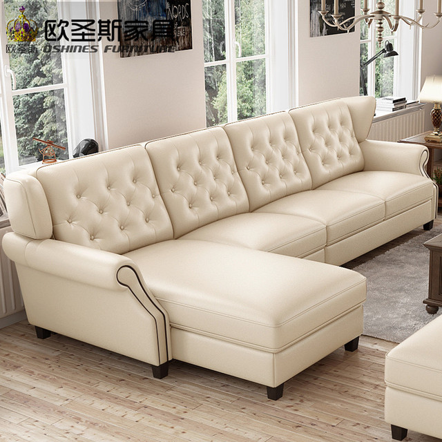 Light Coffee American Style New Designs 2017 Sectional Living Room Furniture L Shaped Corner Victorian Leather