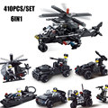 6IN1 Military Special Force Flying Tiger Fighter Aircraft Pickup Truck Model  Policeman Figures Building Blocks Bricks Toys