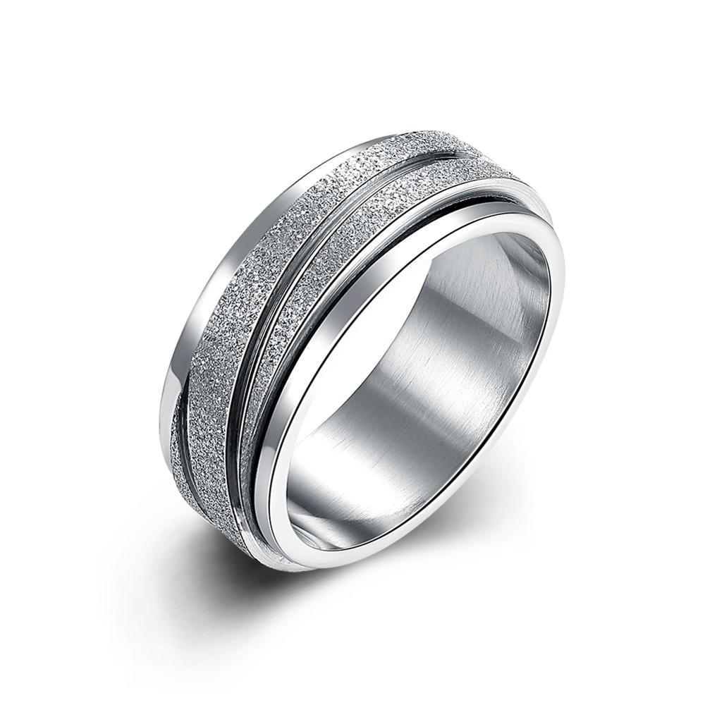 High Quality Men's Jewelry Fashion Ring Round Striped Costume Jewelery  Titanium Steel Finger Rings Simple Cool