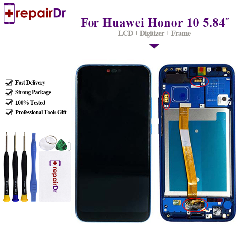 5 84 Original LCD For Huawei Honor 10 Display Touch Screen Digitizer Assembly Frame 100 Work