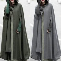 Women's Loose Wool Poncho Winter Warm Coat Long Cloak Cape Parka Outwear