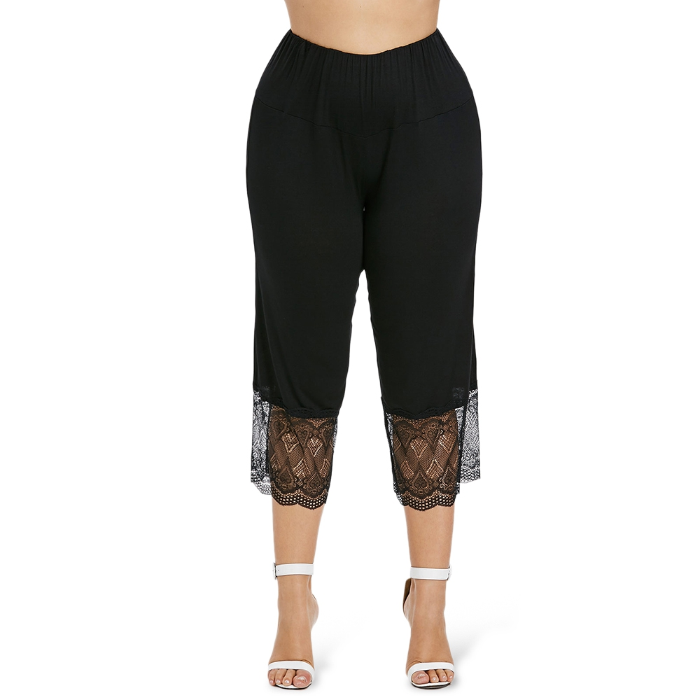 5XL Plus Size High Waist Lace Panel Leggings Women Black Lace Hollow Out Flat Calf-length   Pants   Female Loose   Capri     Pants   Trouser