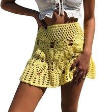d27ac39263 Oro manos Color caramelo de primavera hecho a mano de Mini faldas de las  mujeres ocasionales