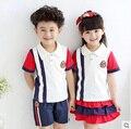 Kindergarten summer clothing 2015 primary school students short-sleeve clothes set baby boy girls choral school uniform suit