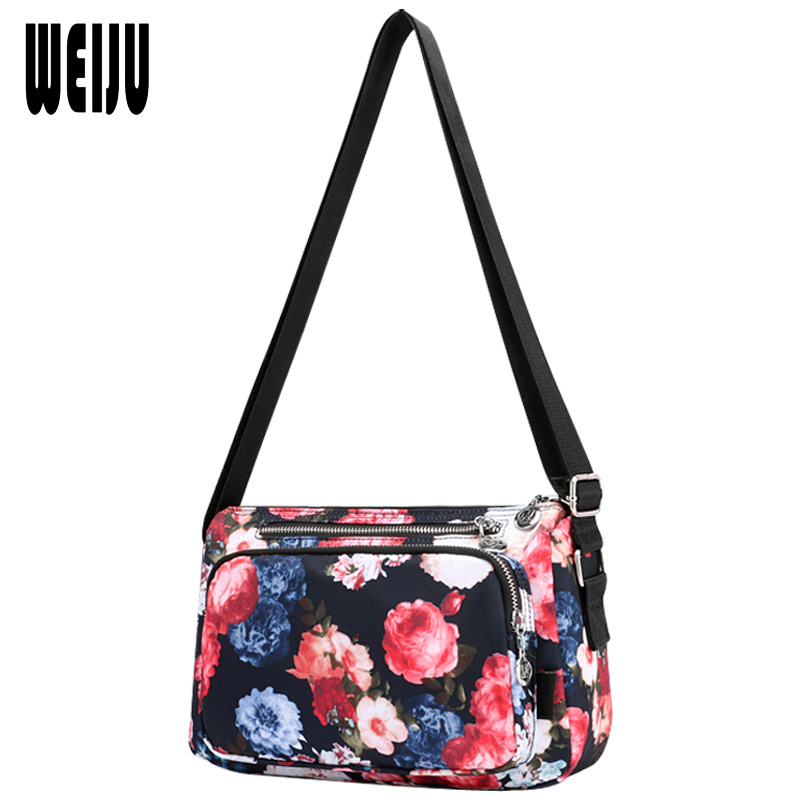 WEIJU Causal Crossbody Bags for Women 2017 Floral Printing Woman Shoulder Messenger Bags Waterproof Nylon Travel Mummy Bag flower princess embroidery chian bags women bucket nylon adjustable bag woman floral shoulder crossbody bags messenger bolsas