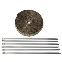15 М Titanium Motorcycle Exhaust Heat Pipe Insulation Wrap С 6 Нержавеющей Связей