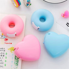 1 Pcs Candy Color Masking Tape Cutter Novelty Love Heart/Donut Shape Tape Storage Organizer School Supplies Tape Dispenser(China)