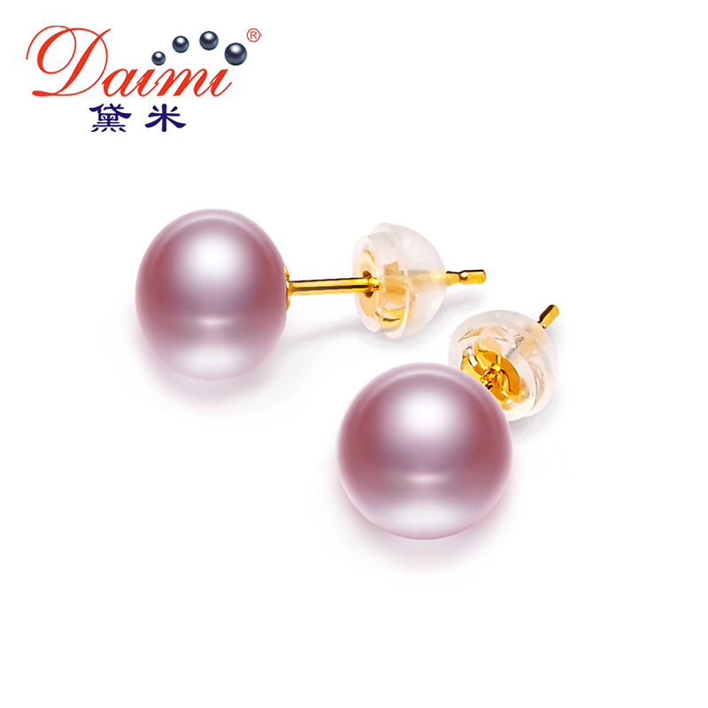 DAIMI 18k Pearl Earrings Studs Earring Freshwater Pearl Pure 18k Yellow Gold Earrings White/Pink/Purple/Gold/Black Brand JewelryDAIMI 18k Pearl Earrings Studs Earring Freshwater Pearl Pure 18k Yellow Gold Earrings White/Pink/Purple/Gold/Black Brand Jewelry