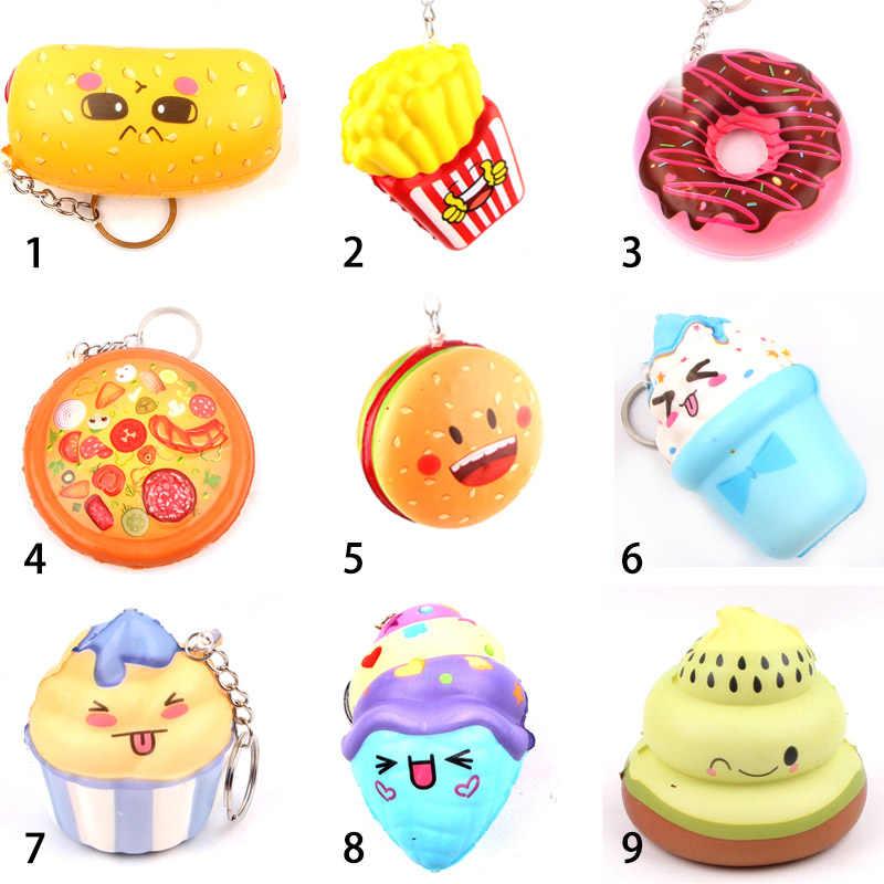 Мини миленький мультяшный брелок облегчение стресса игрушки для детей Подарки колбаса мороженое искусственные продукты и декоративные овощи