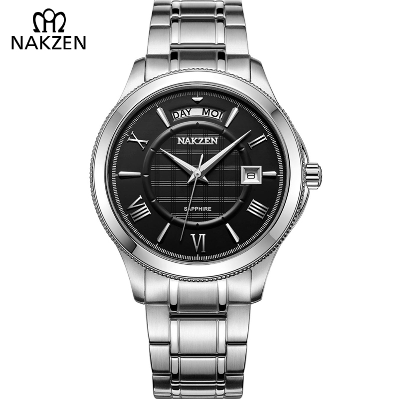 NAKZEN Watches Men Quartz Analog WristWatch Brand Stylish Stainless Steel Strap Male Watch Classic Business Casual Watch Clock kevin casual mens watches male stainless steel watch band watch men analog quartz wristwatch paris eiffel tower women clock time