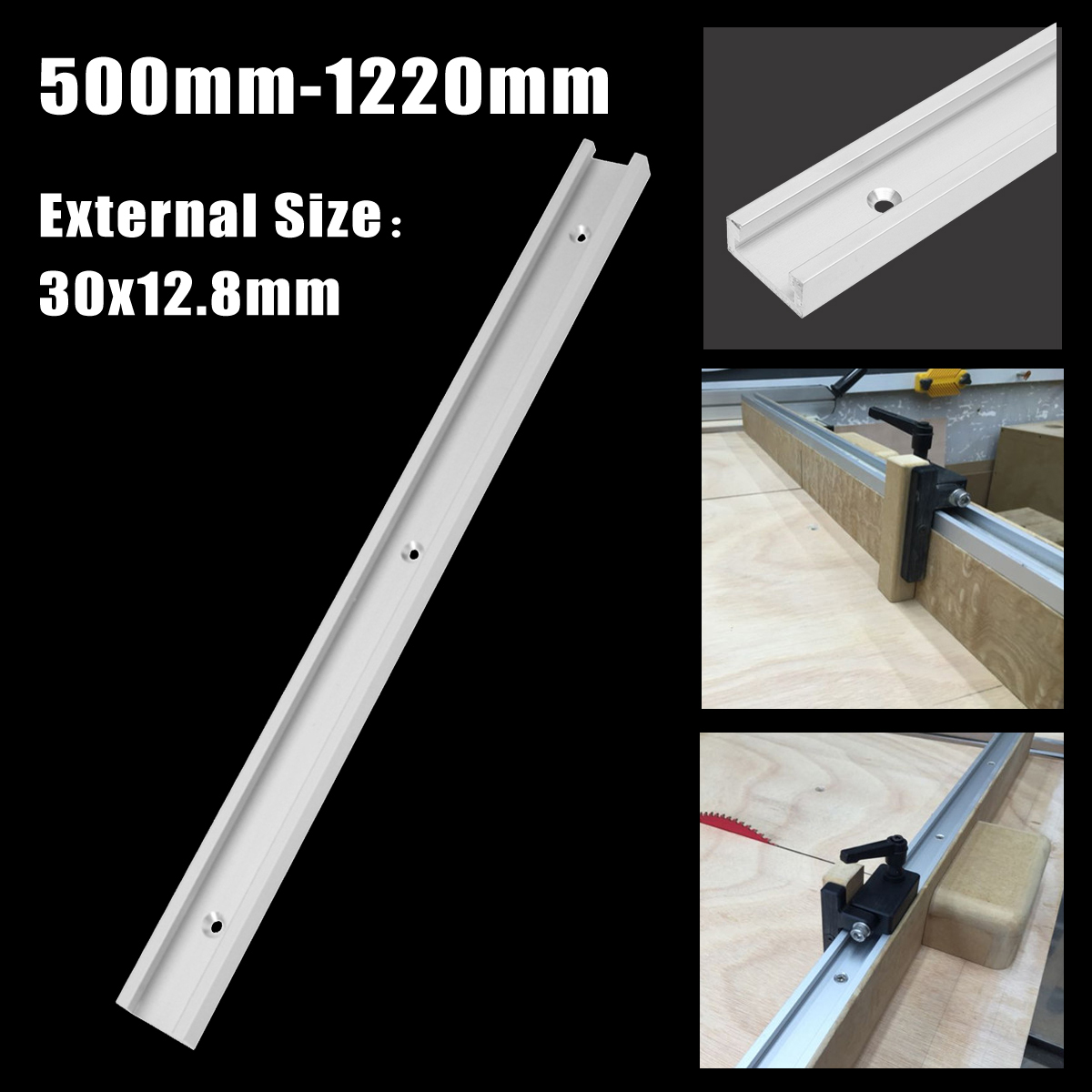 500mm-1220mm T-track T-slot Miter Track Aluminium Alloy Jig Fixture Slot for Router Table Woodworking Tool 2pcs t tracks t slot miter track jig fixture slot for router table band saw t tracks length 300 400 600 800mm kf713