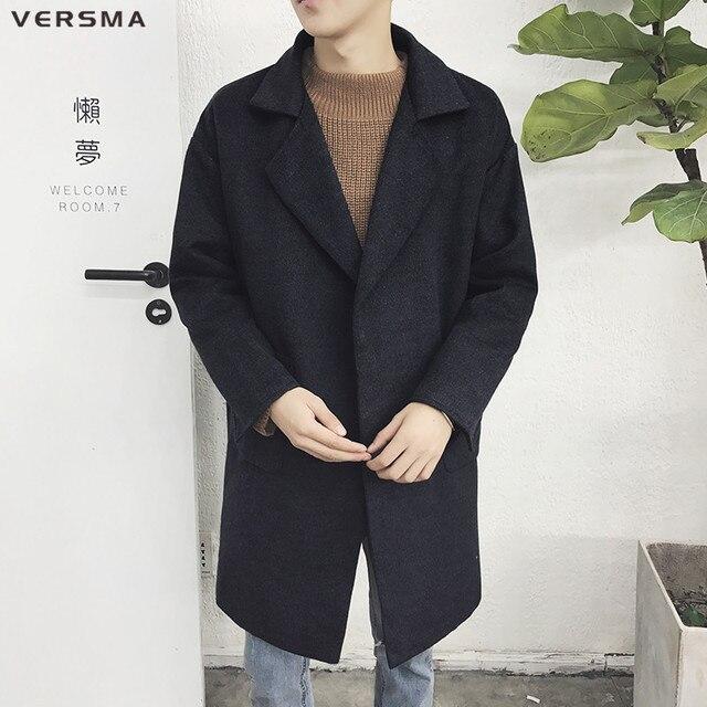 VERSMA 2018 корейский стиль зимние Для мужчин зимняя длинная куртка пальто манто Homme твид черный Шерстяные пиджаки Для мужчин пальто шерстяное Тренч