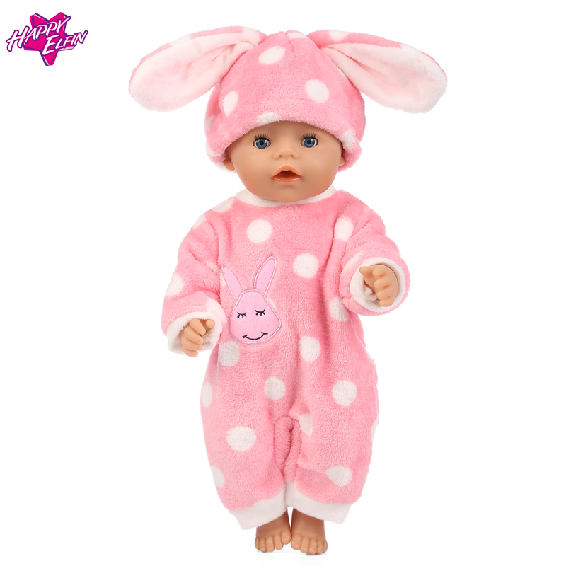 Baby-Born-Doll-Clothes-Fit-Zapf-Doll-Jumpsuit-Suit-with-cute-hat-Doll-Pajamas-sleeping-clothes-18inch-Children-Birthday-Gifts-1