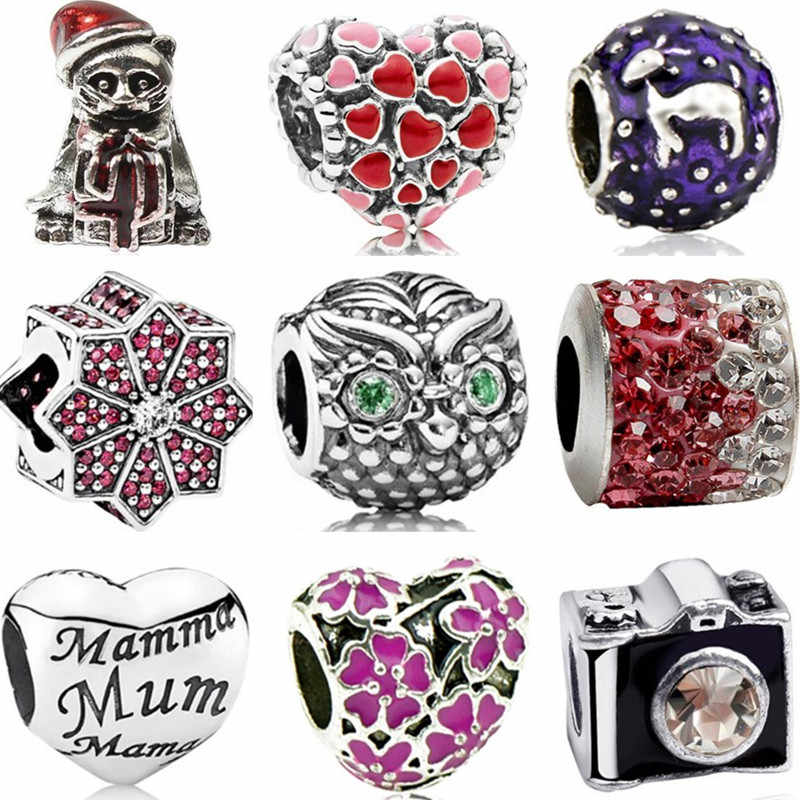 New Fashion Small Crystal Owl Camera Bear Hearts Flowers Charms Beads Fit Pandora Bracelets for Women Party DIY Jewelry Bijoux