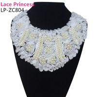 28 Cm 28 Cm White Fashion Artificial Pearls Lace Chiffon Collar Necklace Beads Neckline Sewing Applique