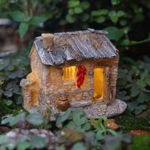 Фея, миниатюрная каменная домик со светом, ламповый дом, сказочный сад, украшения для террариума