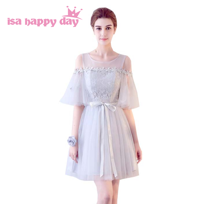 most popular lace teen girl brides maids illusion shoulder dress new for 2019 in light gray bridesmaid tulle lace dresses H4125