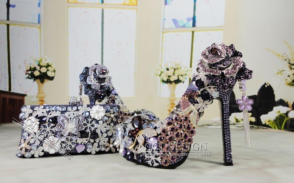 handmade jeweled peacock luxury rhinestone high heels purple crystal wedding bridal shoes with matching bag