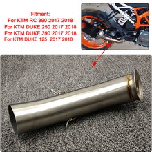 For KTM 125 250 390 DUKE 125 250 390 2017-2018 Motorcycle Stainless Steel Exhaust System Pipe Slip On Middle Link Tube motorcycle exhaust middle pipe case for ktm duke125 duke 200 duke 250 duke 390 stainless steel