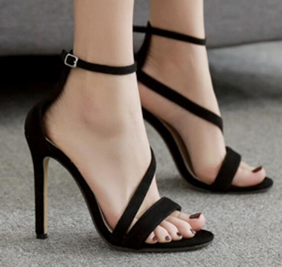 Aneikeh nouveau Design Sexy à la mode femmes ligne Style boucle mince talons hauts noir Faux daim bout ouvert robe sandales taille 42