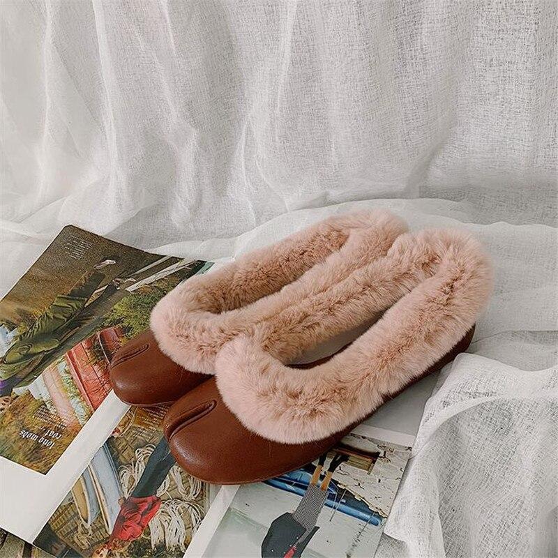Femmes Paillettes Véritable Noir D'hiver Profonde Cuir Chaussures black Argent En Laine On Femme Brown Outwear Fendu Peu Casual silver Plat Orteil Slip Mode xdqIzwUd