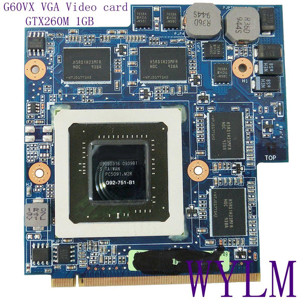 G60VX GTX260M 1GB G92-751-B1 MXM VGA Video Card REV2.1 For ASUS G60V G60VX Laptop notebook DDR3 100%Tested Working free shipping 100% original nvidia geforce gtx280m gtx 280m video card 1gb ddr3 g92 761 b1 for dell m15x m17x r1 m6500 free shipping